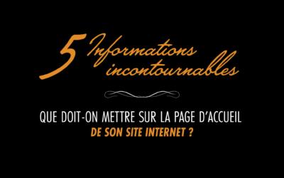 Page d'accueil du site internet : les 5 incontournables